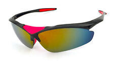 Mohawk Sunglasses SPEED Black / Red with Sunburst Mirror Lens Cycling Y118
