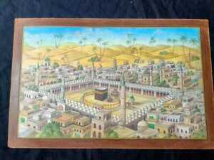 RARE antique handmade islamic painting of Kaaba Mecca by Fathe Mohammad 1299 AH