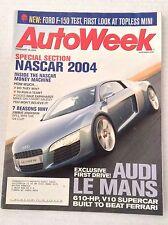 Autoweek Magazine Audi At Le Mans Jimmie Johnson February 16, 2004 020617RH