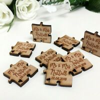 Personalised Wedding Mr & Mrs Table Confetti Decorations Mini Favours Gift Wood