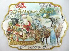 Punch Studio Box of 10 Glitter Dimensional Christmas Note Cards ~ Santa Sleigh