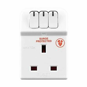 Masterplug MSWRG3-MP 13A 3-Socket Indoor Power Surge Protected Adapter - White