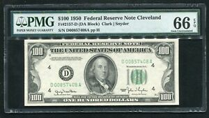 FR 2157-D 1950 $100 FEDERAL RESERVE NOTE CLEVELAND, OH PMG GEM UNC-66EPQ (3of5)