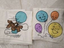 New ListingVintage Baby Receiving Baby Blankets Balloons, elephant hot air balloon Lot of 2