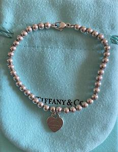 Tiffany & Co Sterling Silver bead heart bracelet