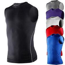 Men Compression Sleeveless Base Layer Tank Tops Gym Workout Fitness T-Shirt Vest