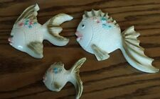 Vintage Ceramic fish family Wall Decor plaques 3 Pieces mid century