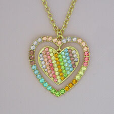 Kirks Folly Rainbow Love Heart Necklace Goldtone with Pastel Crystals