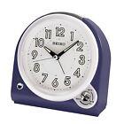 Seiko QHK029L Blue Analogue Lumibrite Bedside Beep & Bell Alarm Clock New