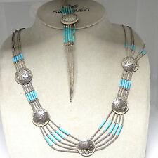 491.Indianer Schmuck - Set- Collier und Armband Türkis Sterling 925 Silber TOP