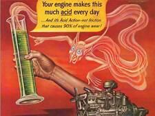ADVERT ENGINE OIL ACID MONSTER GENIE TEST TUBE USA FINE ART PRINT POSTER CC093