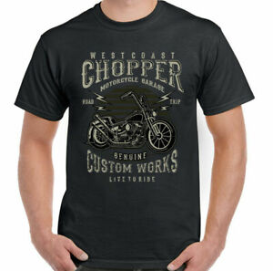West Coast Chopper Biker T-Shirt Custom Works Mens Motorbike Motorcycle Indian