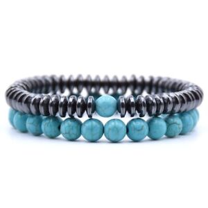 Couples Distance Bracelets His and Hers Gemstone Beaded Stretch Bracelets 8mm