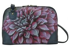 Anuschka Leather Dreamy Dahlias Pink Multi Compartment Zip-Around Organizer, NWT