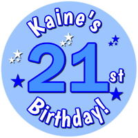 PERSONALISED GLOSS 21ST BIRTHDAY PARTY BAG LABELS SWEET CONE STICKERS ANY AGE