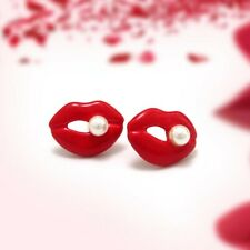 Plated Stud Earrings for Women Girl Fashion Red Lips with Pearl Silver
