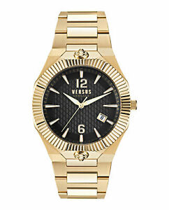 Versus Versace Mens Echo Park IP Yellow Gold 42x47mm Bracelet Fashion Watch