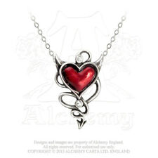 Alchemy - Devil Heart - Pewter Enamel and Crystal Pendant