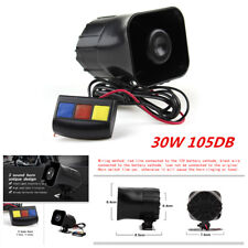 DC 12V Motorcycle Loud Siren Horn 3-Sound Tone Alarm 30W 105DB Button Waterproof