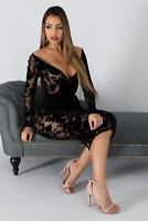 Plus Size Women Long Sleeve Lace Dress See Through Bodycon Cocktaii Evening Slim