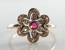 CLASS 9K 9CT ROSE GOLD INDIAN RUBY DIAMOND ART DECO INS FLAMING SUN RING