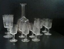 cristal grave aiguille-lot verre a vin-eau-carafe