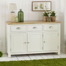 Cotswold Cream Painted 3 Door Large Sideboard with Oak Top - 3 Drawers - WT26