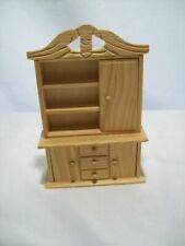 Unfinished Wood Dollhouse Miniature Dining Room Hutch China Cabinet 1 12