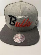 Chicago Bulls Snapback Hat Gray wBlack/Red Lettering Wool Blend Mitchell & Ness