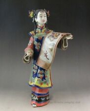 """Beautiful Chinese Famille Rose """"painting Girl"""" Porcelain Statue"""