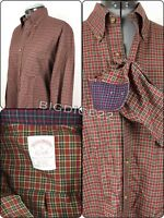 Brooks Brothers Original Polo Shirt Mens Small Red Plaid L/S Button Regular Fit
