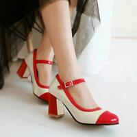 Fashion Womens Cute Mary Jane Ankle Strap Buckle Chunky Block Heels Pumps Shoes