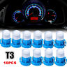 10pcs Blue T3 Neo Wedge LED Bulbs Cluster Instrument Dash Climate Base Lamp YNSV