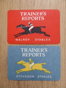 2xTOTOPOLY TRAINER'S REPORT CARDS,VINTAGE 1949,WADDINGTON