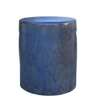Chinese Ceramic Clay Purple Blue Glaze Round Flat Column Garden Stool cs3290