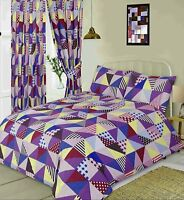 GEOMETRIC HARLEQUIN PURPLE BERRY DUVET SET IN SINGLE DOUBLE KING SIZE / CURTAINS