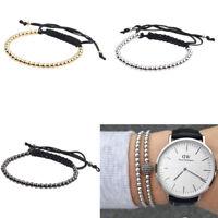 Popular Jewelry 4mm Beads Gold Plated Braided Macrame Men's Charm Bracelets Gift