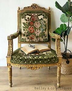 Antique French Gilt Armchair Louis XVI  (2 of 2 listed ) Cut Velvet - TT050b