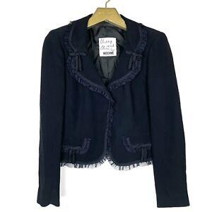 MOSCHINO Cheap & Chic Ruffle Tulle Cropped Blazer Jacket Sz US 10 Black 90s