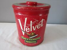 Vintage Advertising Velvet Pipe & Cigarette Tobacco Round Tin U.S.A.