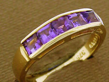 R164 Genuine 9ct Yellow GOLD NATURAL Amethyst Eternity Ring Channel set size N