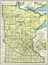 1943 Vintage MINNESOTA State Map Antique Map of Minnesota Gallery Wall 7784