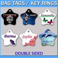 Personalised Bag Tags Key Rings School Bags Travel Luggage Name ID Custom Label
