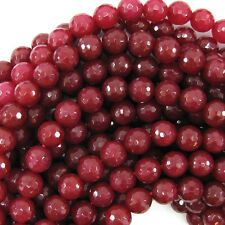 """8mm faceted ruby red jade round 15"""" strand"""