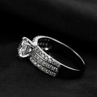 Diamond Fashion Engagement Ring Wedding Jewelry Ring For Women Silver Plated