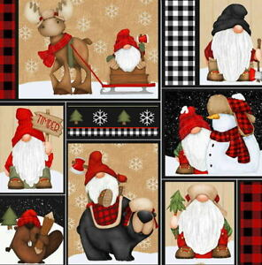 Shelly Komiskey Multi Timber Gnomies Patchwork 9269-89 Cotton Fabric BTY