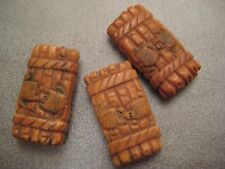 Camel Bones Carved Turtles On Bamboo Beads 3pcs