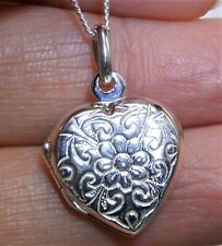 """Silver Flower Heart Locket Pendant 925 STERLING SILVER  18"""" Chain Necklace NEW"""