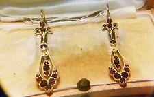 Antik Art Deco um 1930 große 4,8 x 11 cm Granat Gold Silber Ohrringe Böhmen RAR!