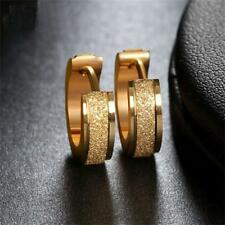 Stainless Steel Circle Ear Stud Party Jewelry Scrub Round Hoop Earrings